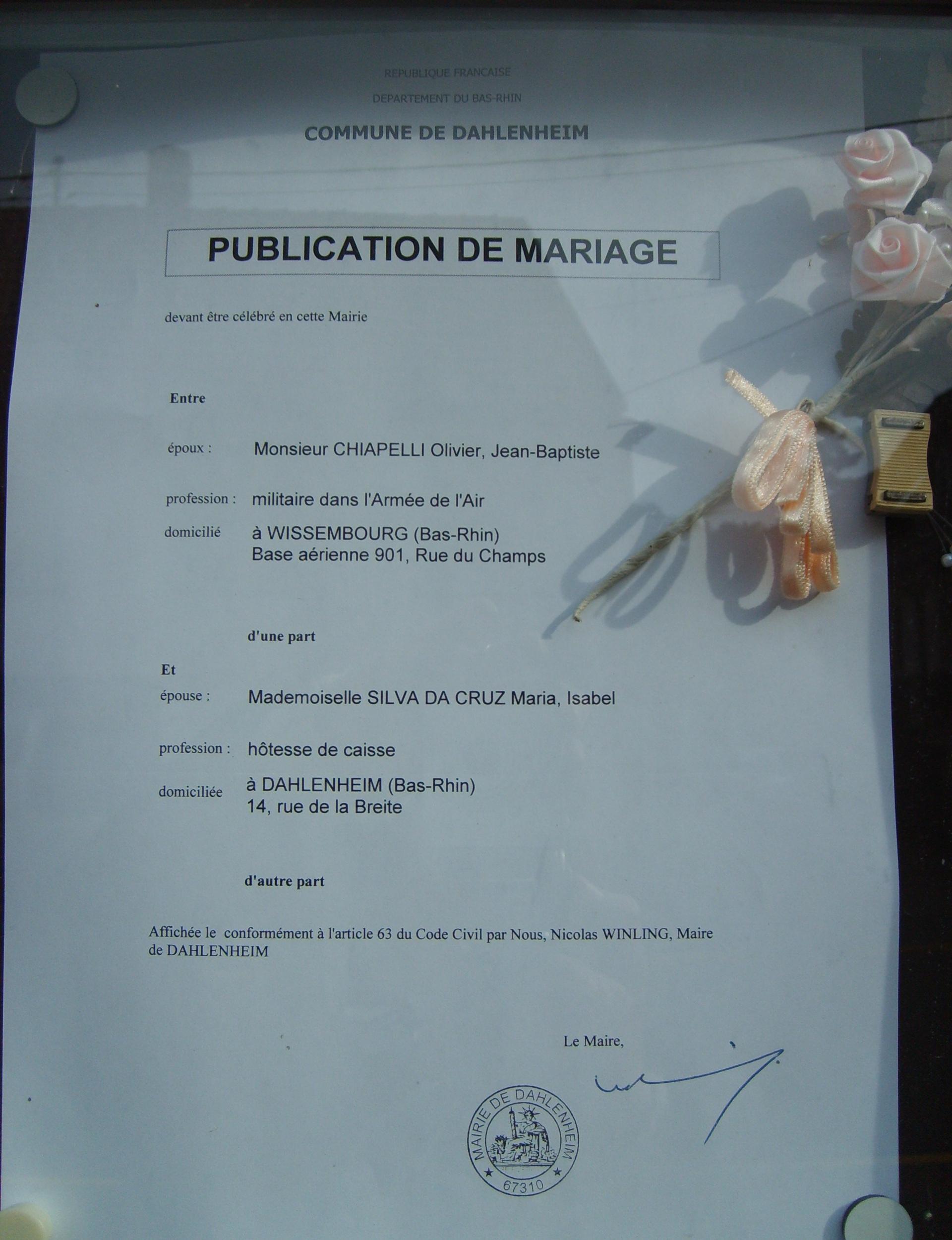 Publication des bans - Publication banc mariage ...